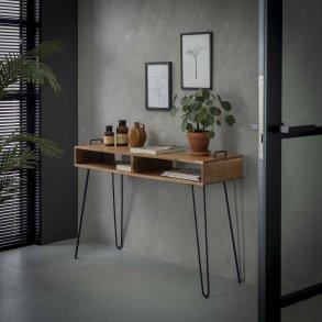 Konsolbord, 2 skuffer, patineret massiv teak Skriveborde